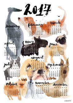 2017 DOG calendar by cinziazenocchini on Etsy