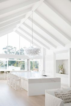 Modern Coastal Barn Dream Home in Australia Coastal Bedrooms, Coastal Homes, Coastal Bedding, Coastal Farmhouse, Coastal Cottage, Coastal Living, White Coastal Kitchen, Coastal Kitchens, Coastal Curtains