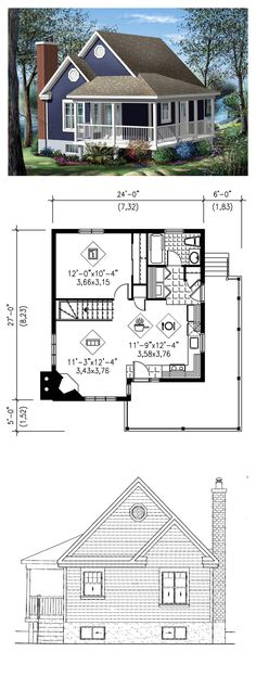 Tiny Micro House Plan 49824 | Total Living Area: 613 sq. ft., 1 bedroom & 1 bathroom. This cottage has a stylish look with its large veranda, decorative moldings and sprockets. This haven of tranquility has a combination kitchen and dining room and a living room with corner fireplace. #tinyhouse #houseplan