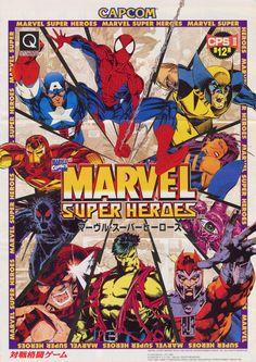 The Arcade Flyer Archive - Video Game Flyers: Marvel Super Heroes, Capcom Marvel Vs, Disney Marvel, Marvel Heroes, Vintage Video Games, Retro Video Games, Retro Games, Video Game Posters, Video Game Art, Movie Posters