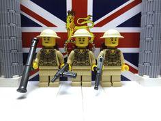 3x WWII LEGO British 8th Infantrymen with M1A1v2, Sten, Bazooka & Brodie helmets #LEGO
