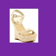 "Bucco ""Pollyana"" Rafia Wedge Sandal  9M Get ready to show off your perfectly painted toes wearing this wedge sandal!!!                      The 5.5"" heel looks impossibly high - luckily the 1.5"" platform balances it out so you can be on your feet comfortably all day.  The color of braided raffia detail is neutral which makes this shoe one of the most versatile you will own.  Runs true to size. Bucco Shoes Wedges"