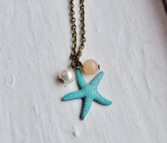 Turquoise Starfish Necklace. Beach Necklace by lakeshorecreations4u on Etsy, $20.00