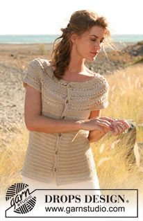 """Crochet DROPS short sleeved jacket with lace pattern and round yoke in """"Cotton Viscose"""". The piece is worked top down. Size: S - XXXL. ~ DROPS Design"""