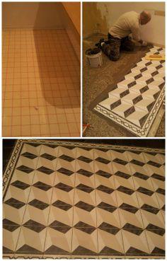 ... pavimento in linoleum. DOPO: pavimento di piastrelle con disegno