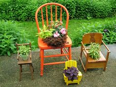 TAKE A SEAT >< Convert old wooden, wicker or plastic chairs into uncommon containers by cutting a hole in the seat and slipping in a pot of flowers. Doll-sized chairs don't need any extra preparation: Simply set a small pot right on the seat. | HGTV