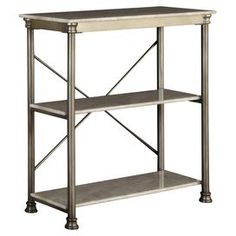 """Two-shelf metal etagere with a marble-finished top and x-crossed back. Product: Etagere Construction Material: Metal and marble Color: White and silver Features: Two shelves Dimensions: 39"""" H x 38"""" W x 16"""" D"""