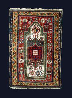 Fahraly Kazak prayer rug dates to circa
