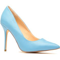CiCiHot Blue Faux Leather Pointy Toe Pumps ($16) ❤ liked on Polyvore featuring shoes, pumps, heels, blue pumps, pointed toe shoes, pointy-toe pumps, blue heel pumps and blue shoes