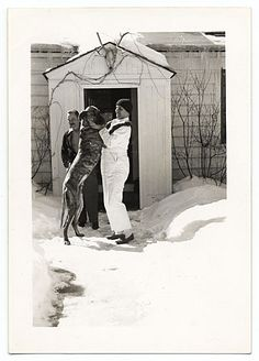 Citation: Rockwell Kent playing in the snow with his dog, ca. 1935 / unidentified photographer. Rockwell Kent papers, Archives of American Art, Smithsonian Institution.