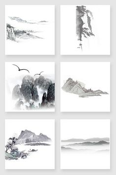 Chinese Style, Chinese Art, Watercolor Sketch, Watercolor Paintings, Chinese Background, Chinese Landscape Painting, Framed Wallpaper, Mountain Designs, Tinta China