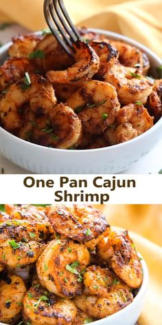 This Easy One Pan Cajun Shrimp is the perfect way to enjoy your favourite seafood! It's so spicy and flavourful, and it's easy to make in just one pan! Recipe from thebusybaker.ca! #cajun #shrimp #spicy #seafood #mild #protein #healthy #lowfat #spices #spicemix #seasoningblend