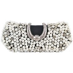 Dazzling Pearl Beads Rhinestone Encrusted Closure Rectangle Hard Case Baguette Clutch Evening Bag Handbag Purse w/2 Chain Straps