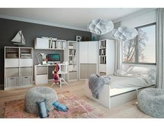 Dětský pokoj Mati Dětský pokoj Mati nabízí vše, co je potřebné v dětském či studentském pokoji. Množství úložného prostoru je skvěle zkombinováno s čistým designem a neutrální kombinací světlého přírodního dekoru borovice andersen s šedým … Shelving, Loft, Furniture, Design, Home Decor, Check, Shelf, Classic, Shelves
