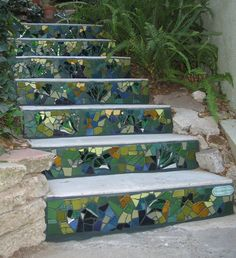 DIY Garden Steps & Stairs • Lots of ideas, tips & tutorials! Including, from 'kim larson', these creative mosaic stairs.