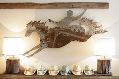 love this wall display and the lamps!