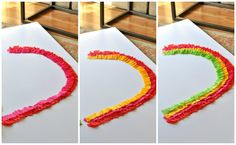 step by step tutorial with photos - how to make a rainbow party streamer backdrop for your dessert table. easy, cheap, no sew tutorial. I made this for my st patricks day party