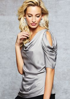 DZQ I'd love to try this, what do you think? How about the earnings? BCBGMAXAZRIA Side Draped Sleeve Top