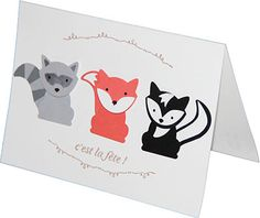 handmade birthday card featuring three critters made with the Fox Builder punch ... cute!