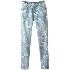 Blackfive Distressed Flowers Print Light Blue Jeans ($27) ❤ liked on Polyvore featuring jeans, pants, bottoms, blackfive, blue, 5 pocket jeans, blue jeans, ripped blue jeans, distressed jeans and floral printed jeans