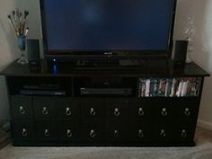 Completed DIY Pottery Barn Fake Apothecary Style Media Cabinet