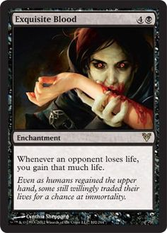 Exquisite Blood card price from Avacyn Restored (AVR) for Magic: the Gathering (MTG) and Magic Online (MTGO). Mtg Vampire, Magic Online, Mtg Decks, Mtg Altered Art, Magic The Gathering Cards, Magic Cards, Sang, Wizards Of The Coast, Deck Of Cards