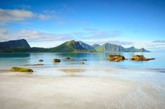 Haukland Beach - archipelago in the county of Nordland, Norway within the Arctic Circle. Lofoten, Norway Beach, Norway Travel, City Landscape, Europe, Beach Trip, Amazing Nature, Beautiful Beaches, Beautiful Landscapes