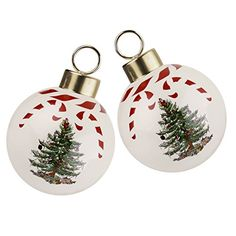 Spode Christmas Tree Peppermint Decorative Bauble, Set of 2
