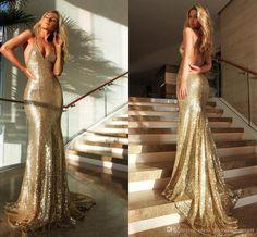 Sexy Gold Sequin Mermaid Prom Dresses 2016 Spaghetti Criss Cross Back Long…