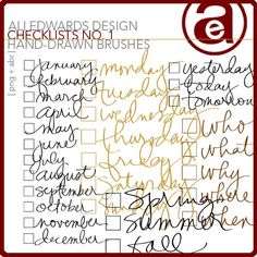 Checklists No. 01 Hand Drawn Brushes - Photoshop Brushes DesignerDigitals