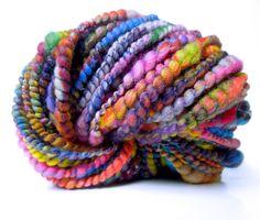 Rainbow Dream Handspun Art Yarn, Coily Ply, Sparkle