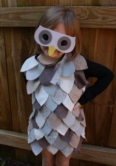 DIY Halloween Costumes - Owl. I want to do this, but use bright color cutouts on a skirt and be a parrot
