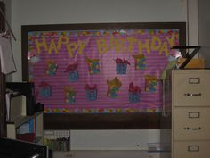 """My Birthday Board! """"Pre-wrapped"""" birthday bags with inexpensive treats inside. I write out homework passes before the school year starts and I NEVER have to stop a lesson to rummage through my drawer looking for those blasted birthday certificates! Birthday Certificate, Homework Pass, Birthday Bulletin Boards, Pre Wrap, Birthday Bag, School Stuff, Drawer, Treats, Display"""