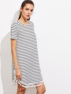 Shop Tassel Trim Dolphin Hem Striped Tee Dress online. SheIn offers Tassel Trim Dolphin Hem Striped Tee Dress & more to fit your fashionable needs.