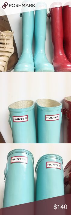HUNTER BOOTS Glossy // Size 8 but I'm an 8 1/2 and it fits great :) Hunter Boots Shoes Winter & Rain Boots