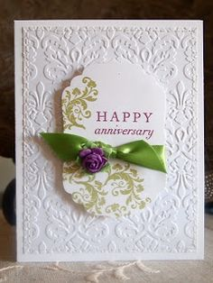 Tomorrow is my anniversary! My DH and I have been married 8 years, and I love him more than anything! Since I have anniversary on the brai. Scrapbooking, Scrapbook Cards, Happy Anniversary Cards, Anna Griffin Cards, Embossed Cards, Love Cards, Diy Cards, Greeting Cards Handmade, Homemade Cards