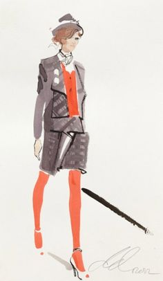 Fashion drawing by David Downton, 2012, Vivienne Westwood for Vogue.