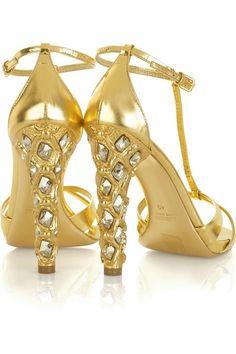 Miu Miu | Sparkling Gold Heels, HT. Elegância e design também em sapatos femininos.