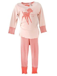 So cute - new eeni meeni miini moh fitted girls rib pyjamas set in sorbet and tangerine.  It has gorgeous contrast elastic waist and herringbone contrasting cuff detail with a 'bonne nuit' bambi screen-print on the front.