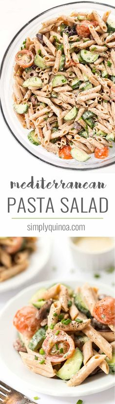 This rich and creamy Mediterranean Pasta Salad is made with a delicious, tangy dressing and is packed with veggies! It's vegan, gluten-free & high-protein! Vegetable Pasta Salads, Healthy Pasta Recipes, Healthy Pastas, Veg Recipes, Salad Recipes, High Protein Vegetarian Recipes, Health Recipes, Healthy Lunches, Healthy Dishes