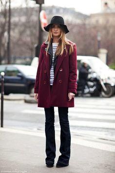 Floppy hat, striped tee, burgundy coat & flared jeans #style #fashion #denim #streetstyle