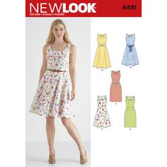 New Look Pattern 6431 Misses Dresses with Skirt and Neckline Variations. Dress has round or square pleated neckline and option of slim or full skirt. Three belt styles also included.