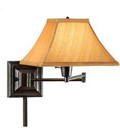 Our Kingston Swing-Arm Pin-Up Lamp is the perfect lighting when you need bedside reading wall lamps. This wall lighting features an attractive metal base with an empire fabric shade. Install the Home Decorators Collection Kingston 1-Light Semi-Flush Mount Antique Brass Wall Swing-Arm Lamp next to your bed or chair for convenient lighting. | eBay!