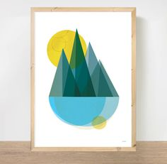 Geometric Mountains Art Print, Abstract Landscape Wall Art, Danish Inspired Nature Poster, Minimalist Home Decor, A3 Print
