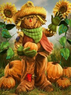 Glitter Scarecrow autumn leaves fall pumpkin autumn quote graphic fall greeting…