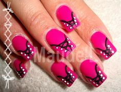 Pink and black, unique nail art design!