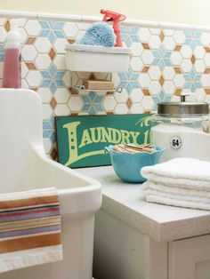 Add some excitement to your laundry room with a colorful tile backsplash!