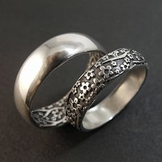 Wedding Ring Set  Opposites Attract by DownToTheWireDesigns