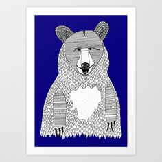 Blue Bear Art Print by Lush Tart - $18.00