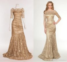 Wholesale Mother Of The Bride Dresses - Buy Gold Mermaid Mother Of The Bride Dresses With Sleeves Beteall Lace Vintage Ruffles Long Formal Dresses Glamorous Evening Dresses Custom Made, $119.79 | DHgate